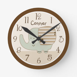 Personalized Sleepy Safari Elephant Nursery Clock