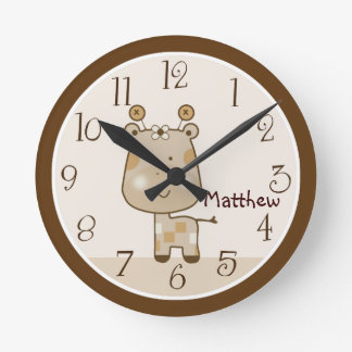 Personalized Sleepy Safari Giraffe Nursery Clock