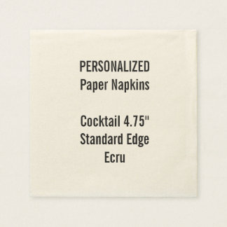 Personalized Small ECRU Cocktail Paper Napkins