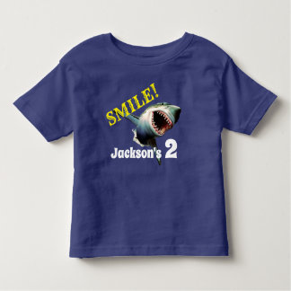 "Personalized ""Smile"" Shark Birthday Toddler T-shirt"