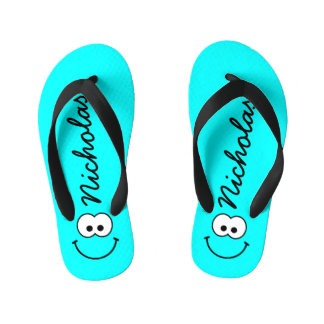 Personalized Smiley Blue Kid's Flip Flops