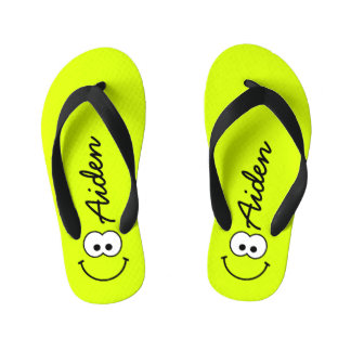 Personalized Smiley Green Kid's Flip Flops