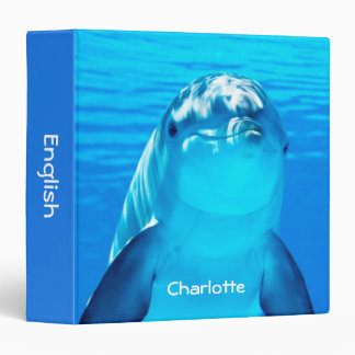 Personalized Smiling Dolphin Underwater Sea Life 3 Ring Binder