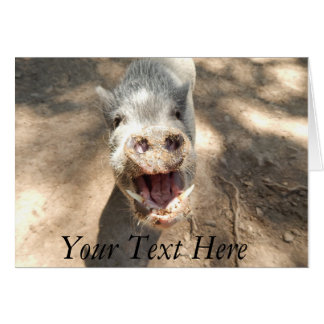 Personalized Smiling Mini Pig Card