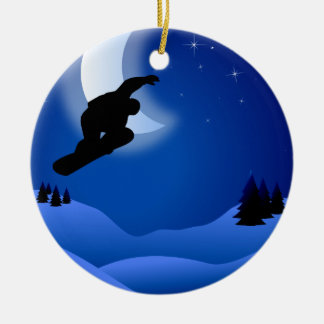 Personalized Snowboarding with Moon Mountain Ceramic Ornament