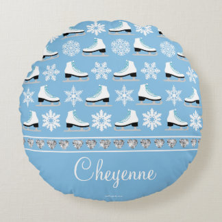 Personalized Snowflakes and Figure Skates Pattern Round Pillow