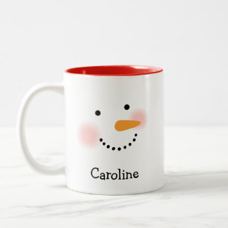 Personalized Snowman Face Coffee Mug for Her