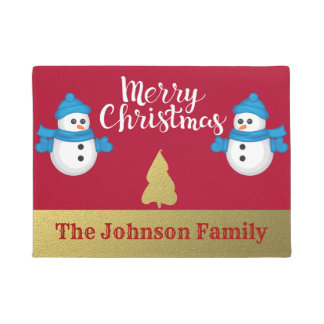 Personalized Snowman Merry Christmas Welcome Doormat