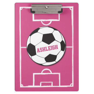 Personalized Soccer Ball and Field Pink Clipboards