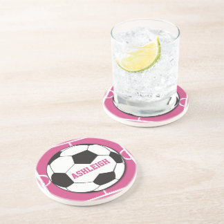 Personalized Soccer Ball and Field Pink Coaster
