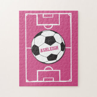 Personalized Soccer Ball and Field Pink Jigsaw Puzzle