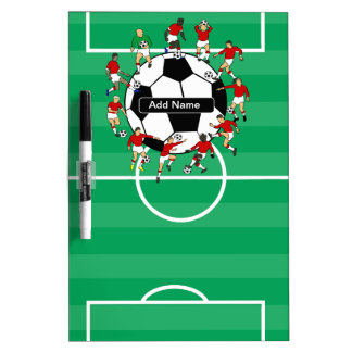 Personalized soccer ball and players dry erase whiteboards