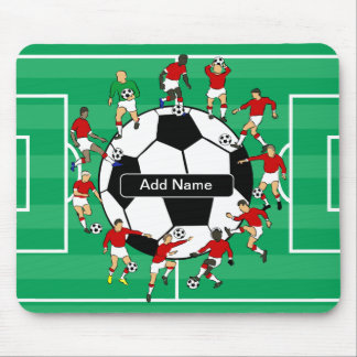 Personalized soccer ball and players mouse pad