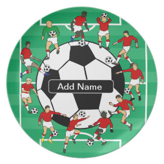 Personalized soccer ball and players party plates