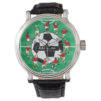 Personalized soccer ball and players watch