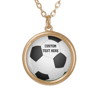 Personalized Soccer Ball Gold Plated Necklace