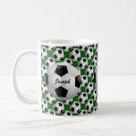 Personalized Soccer Ball on Football Pattern Classic White Coffee Mug