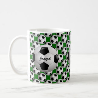 Personalized Soccer Ball on Football Pattern Classic White Coffee Mug