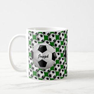 Personalized Soccer Ball on Football Pattern Coffee Mug