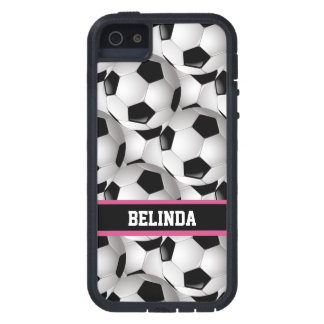 Personalized Soccer Ball Pattern Black Pink White Case For The iPhone 5