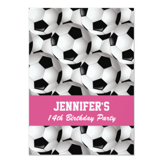 "Personalized Soccer Ball Pattern Pink Birthday 5"" X 7"" Invitation Card"