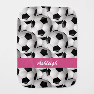 Personalized Soccer Ball Pattern Pink Burp Cloths