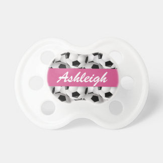 Personalized Soccer Ball Pattern Pink Pacifier