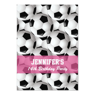 "Personalized Soccer Ball Pattern v2 Pink Birthday 5"" X 7"" Invitation Card"