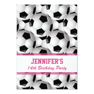 "Personalized Soccer Ball Pattern v3 Pink Birthday 5"" X 7"" Invitation Card"