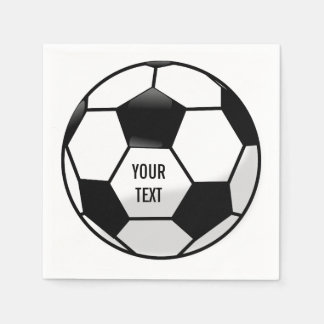 Personalized Soccer Ball with Custom Text Paper Napkins