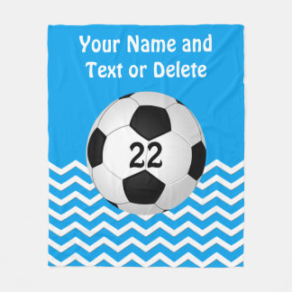 Personalized Soccer Blanket, Your Text and Colors Fleece Blanket