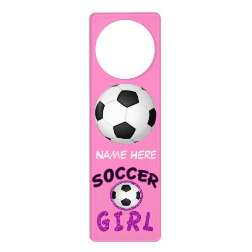 Personalized Soccer Girl Door Hanger with Her NAME