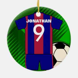 Personalized soccer jersey and ball round ceramic ornament