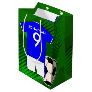 Personalized Soccer Jersey Blue and White Medium Gift Bag