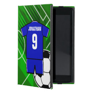 Personalized Soccer Jersey Blue with White Cover For iPad Mini