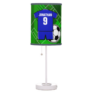 Personalized Soccer Jersey Blue with White Table Lamp