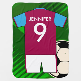 Personalized Soccer Jersey Claret and Blue Receiving Blankets