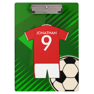 Personalized Soccer Jersey Red and White Clipboards