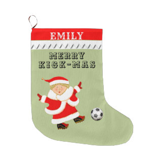 personalized soccer large christmas stocking