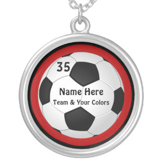 Personalized Soccer Necklace, Your Text and Colors Silver Plated Necklace