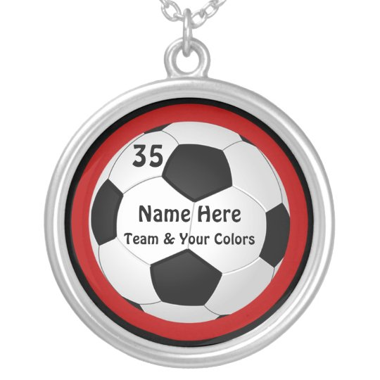Personalized Soccer Necklace, Your Text and Silver Plated Necklace