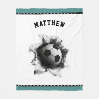 personalized soccer novelty fleece blanket