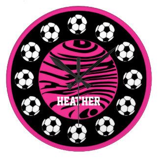 Personalized Soccer Pink Zebra Stripes Wall Clock