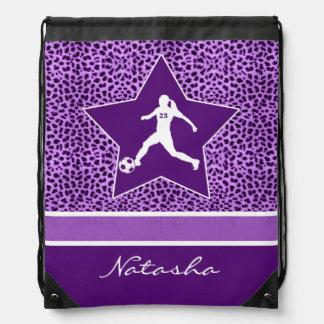 Personalized Soccer Purple Cheetah Print Drawstring Bag