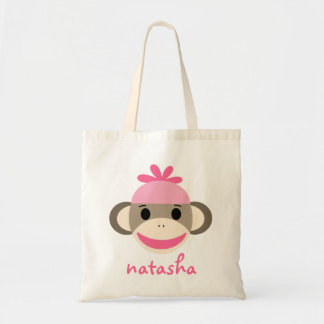 Personalized Sock Monkey Bookbag Tote Bag