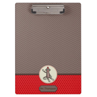 Personalized Sock Monkey Clipboard
