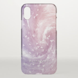 personalized soft pastels swirling hearts iPhone x case