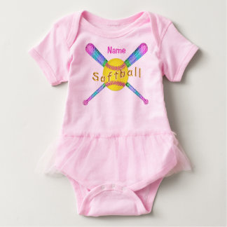 Personalized Softball Baby One Piece TuTu Tshirt