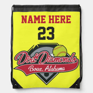 Personalized Softball Back Pack Name, Number, Logo Drawstring Bag
