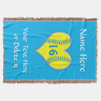 Personalized Softball Blanket with Your Text